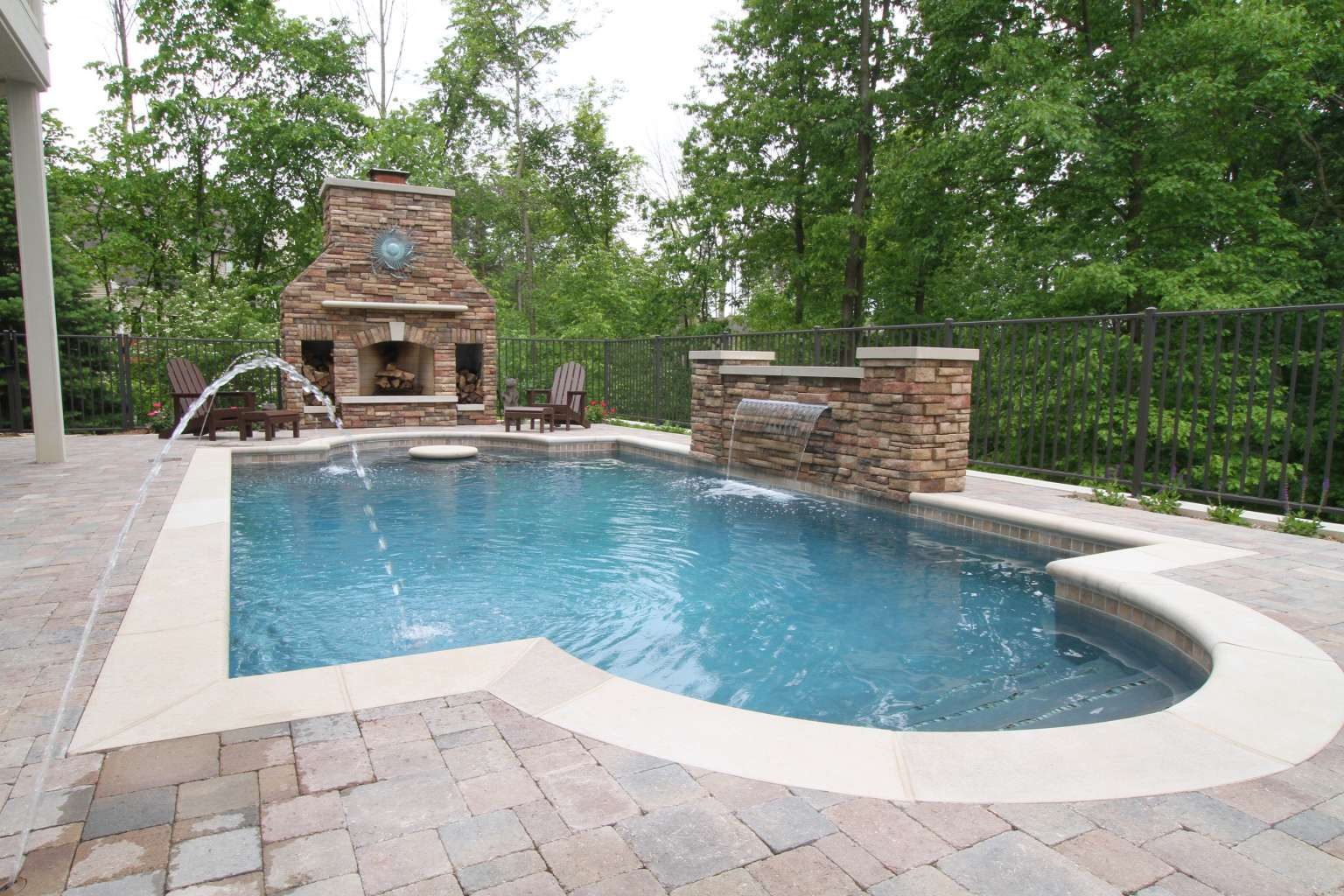 Grand Rapids Pool, Waterfeature, Fireplace, and Outdoor ... on Outdoor Kitchen By Pool id=51509